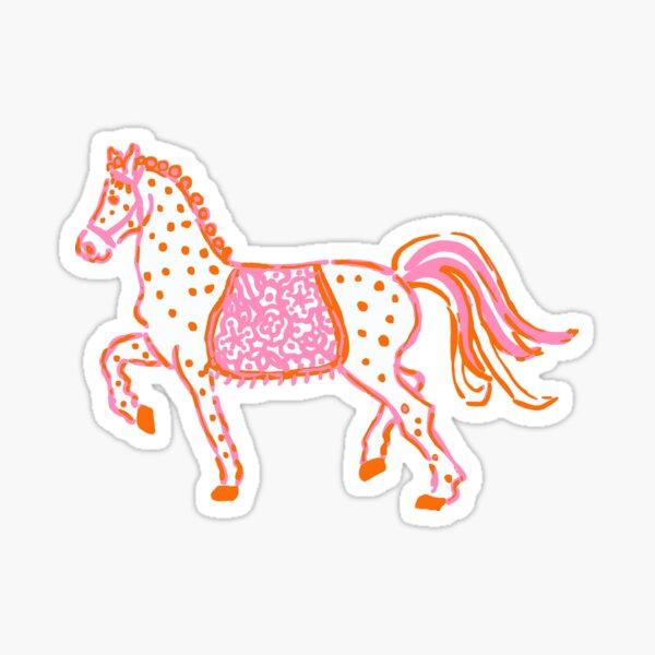 Preppy pink orange and white horse pony Sticker