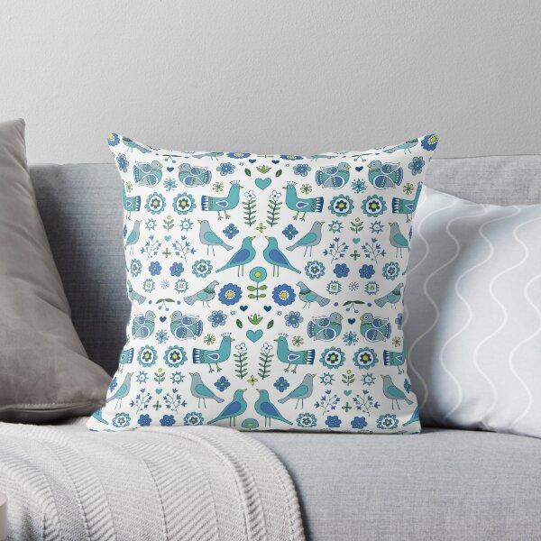 Scandi Folk Birds - blue & white - Scandinavian folk art pattern by Cecca Designs Throw Pillow