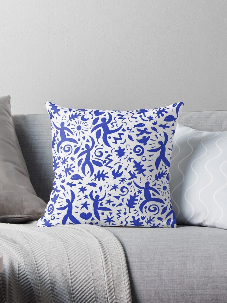 Cuban Salsa - blue on white - contemporary dance pattern by Cecca Designs by Cecca-Designs