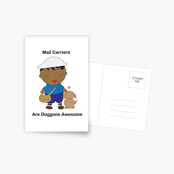 Black Mail Carrier Doggone Awesome Cute Postcard
