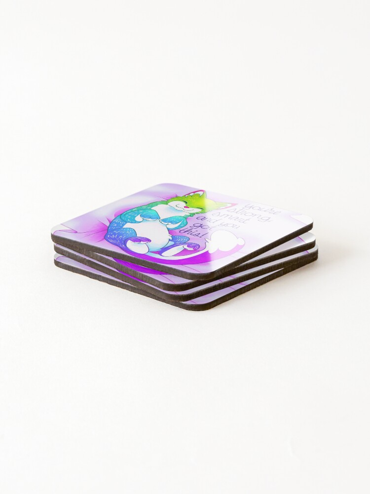 """Alternate view of """"You're strong, smart and you got this!"""" Snuggly Kitty Coasters (Set of 4)"""