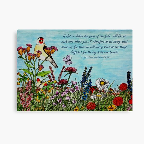 Flower Meadow - With Extracts from Matthew 6: 30,34, the Bible Canvas Print