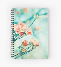 Teal Peach Coral Dogwood Flower Photography, Aqua Turquoise Teal Mint Spiral Notebook