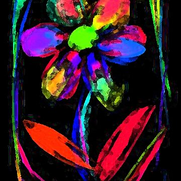 Bright Neon Rainbow Flower Garden by unclestich