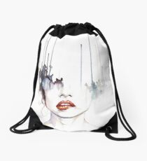 Watercolor girl Drawstring Bag
