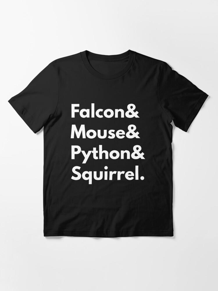 Alternate view of Falcon Mouse Python Squirrel Programming Language Nerd Design Essential T-Shirt