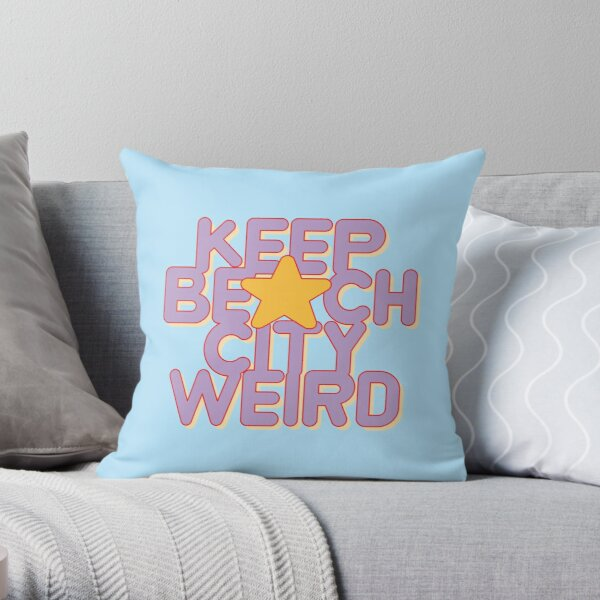 KEEP BEACH CITY WEIRD Throw Pillow