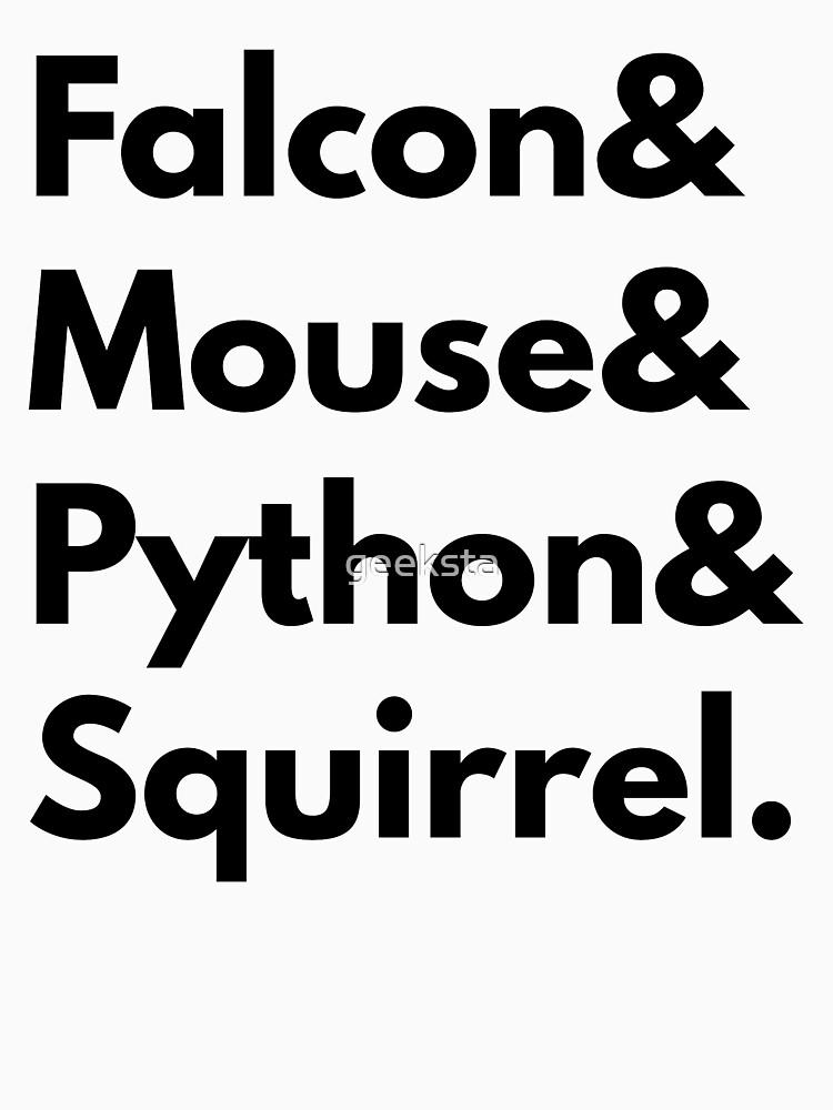 Falcon Mouse Python Squirrel Programming Language Geek Design by geeksta