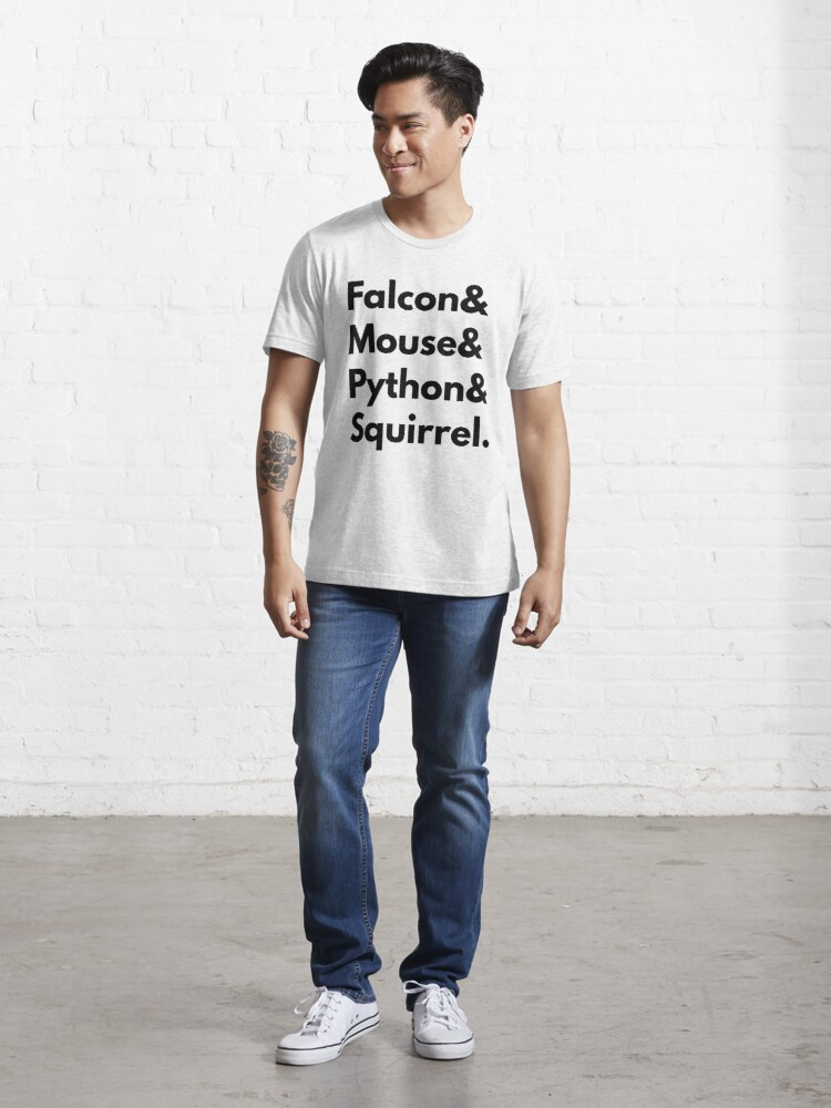 Alternate view of Falcon Mouse Python Squirrel Programming Language Geek Design Essential T-Shirt