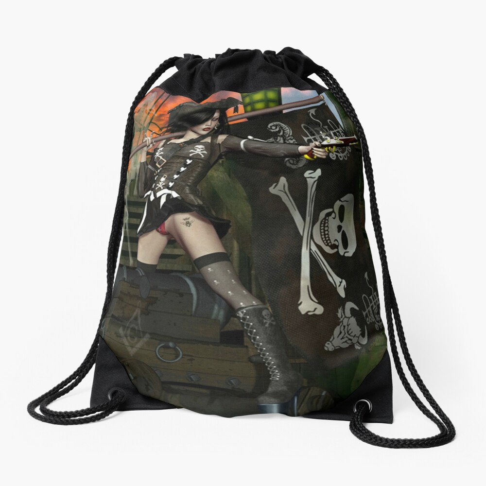 Pirate Ghost Witch Of The Caribbean  Drawstring Bag