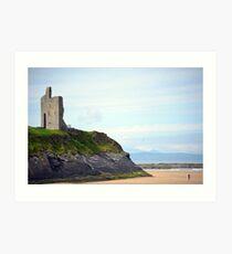 ballybunion castle on the cliffs of a beautiful beach Art Print