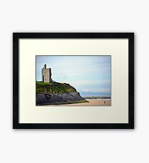 ballybunion castle on the cliffs of a beautiful beach Framed Print