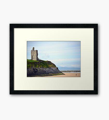 ballybunion castle on the cliffs of a beautiful beach Framed Print