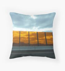 Looking through orange perspex barrier ~ Eastlink, Frankston to Ringwood Freeway Throw Pillow