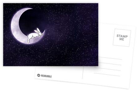 Schlafendes Kaninchen im Mond von Diana *BunnyKissd* Bukowski