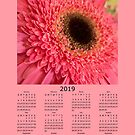 2019 Calendar With Bright Pink Flower by Judi FitzPatrick