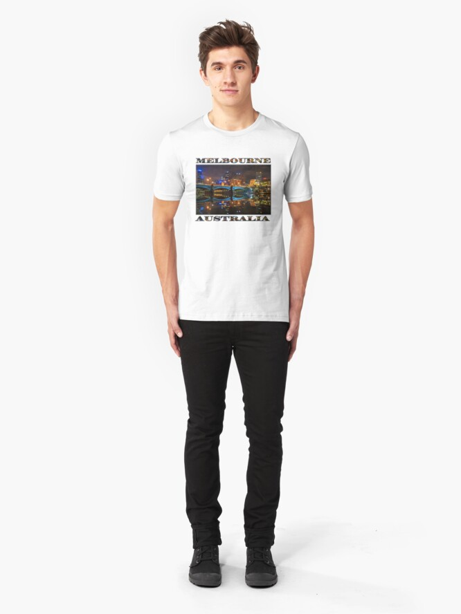 Alternate view of Reflective City (poster edition on white) Slim Fit T-Shirt