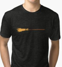 Black Cat on a Witch's Broom Tri-blend T-Shirt