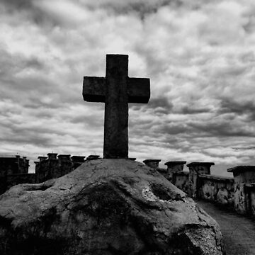 black and white cross view by mistressotdark