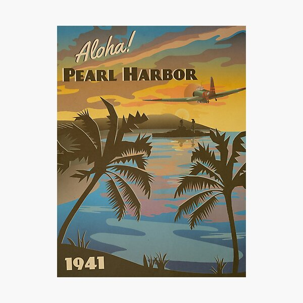 """Pearl Harbor 1941 - """"Day of Infamy Travel Poster"""" Photographic Print"""