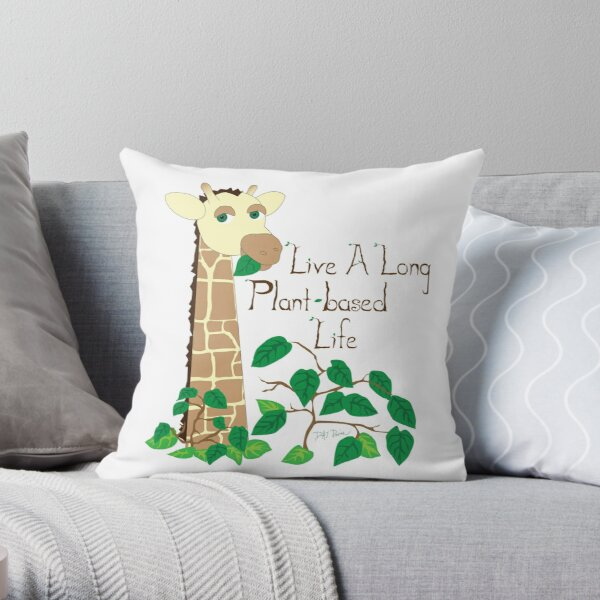 Live a Long Plant-Based Life Throw Pillow