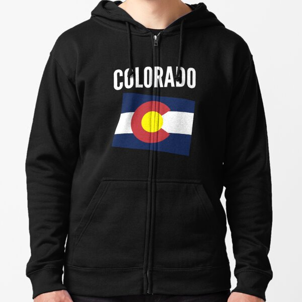 Colorado Map With Text Zipped Hoodie