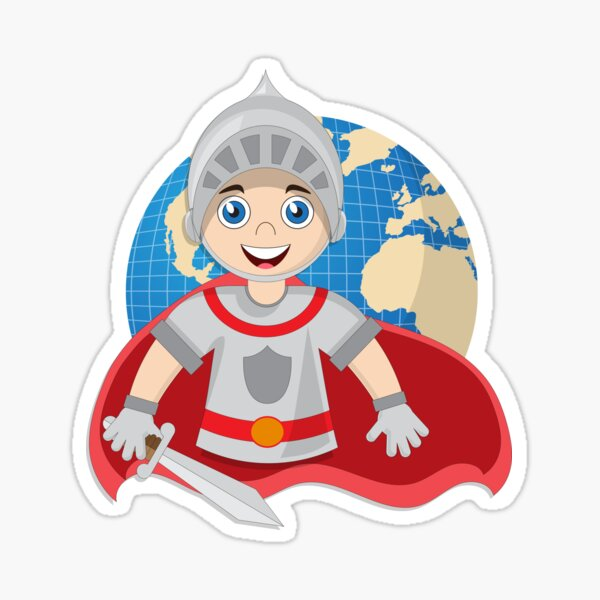 Cute knight on the background of the globe. Sticker