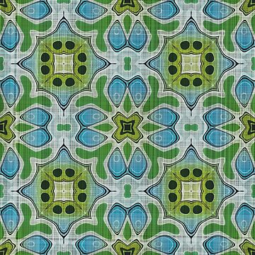 Lime Green Turquoise Blue Gray Hip Orient Bali Art  by FudgePudge