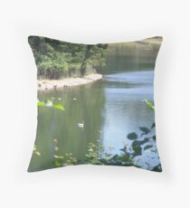 ONE SINGLE SWAN ON THE POND  Throw Pillow