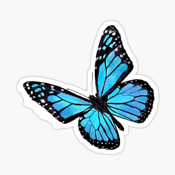 Papillon bleu clair Sticker