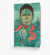 Portrait with a red dragon Greeting Card