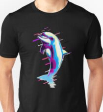Dolphin mammal Eighties Retro Violet and Purple Unisex T-Shirt