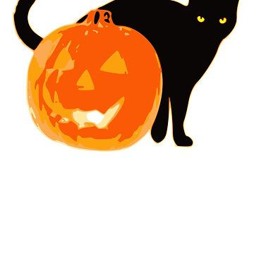Black Cat Pumpkin Funny Halloween Scary Costume by cssdru
