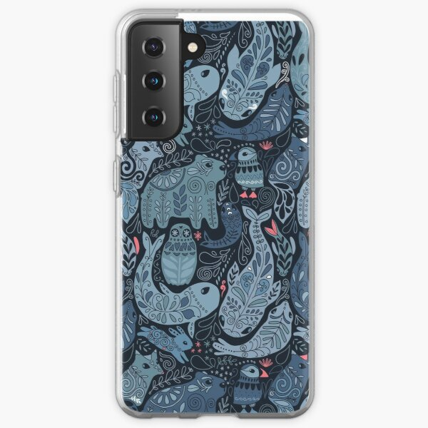 Arctic animals. Narwhal, polar bear, whale, puffin, owl, fox, bunny, seal. Samsung Galaxy Soft Case