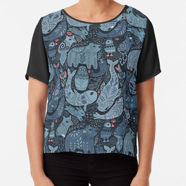 Arctic animals. Narwhal, polar bear, whale, puffin, owl, fox, bunny, seal. Chiffon Top