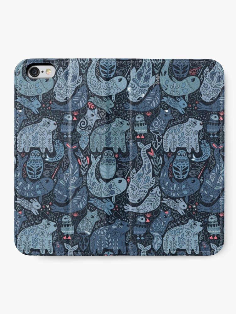 Alternate view of Arctic animals. Narwhal, polar bear, whale, puffin, owl, fox, bunny, seal. iPhone Wallet