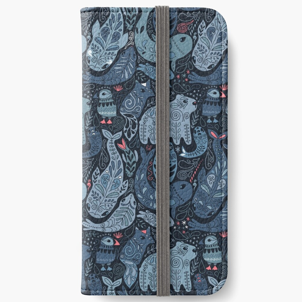 Arctic animals. Narwhal, polar bear, whale, puffin, owl, fox, bunny, seal. iPhone Wallet