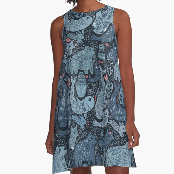 Arctic animals. Narwhal, polar bear, whale, puffin, owl, fox, bunny, seal. A-Line Dress