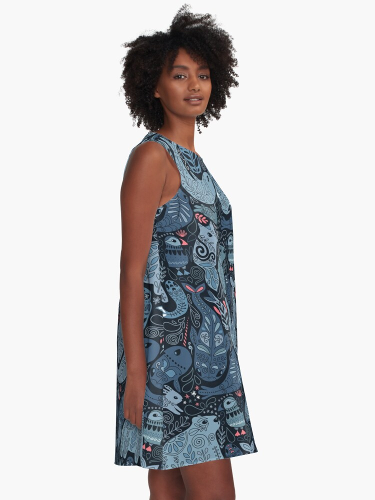 Alternate view of Arctic animals. Narwhal, polar bear, whale, puffin, owl, fox, bunny, seal. A-Line Dress
