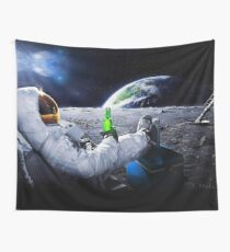 Astronaut on the Moon with space beer ⛔ HQ quality Wall Tapestry