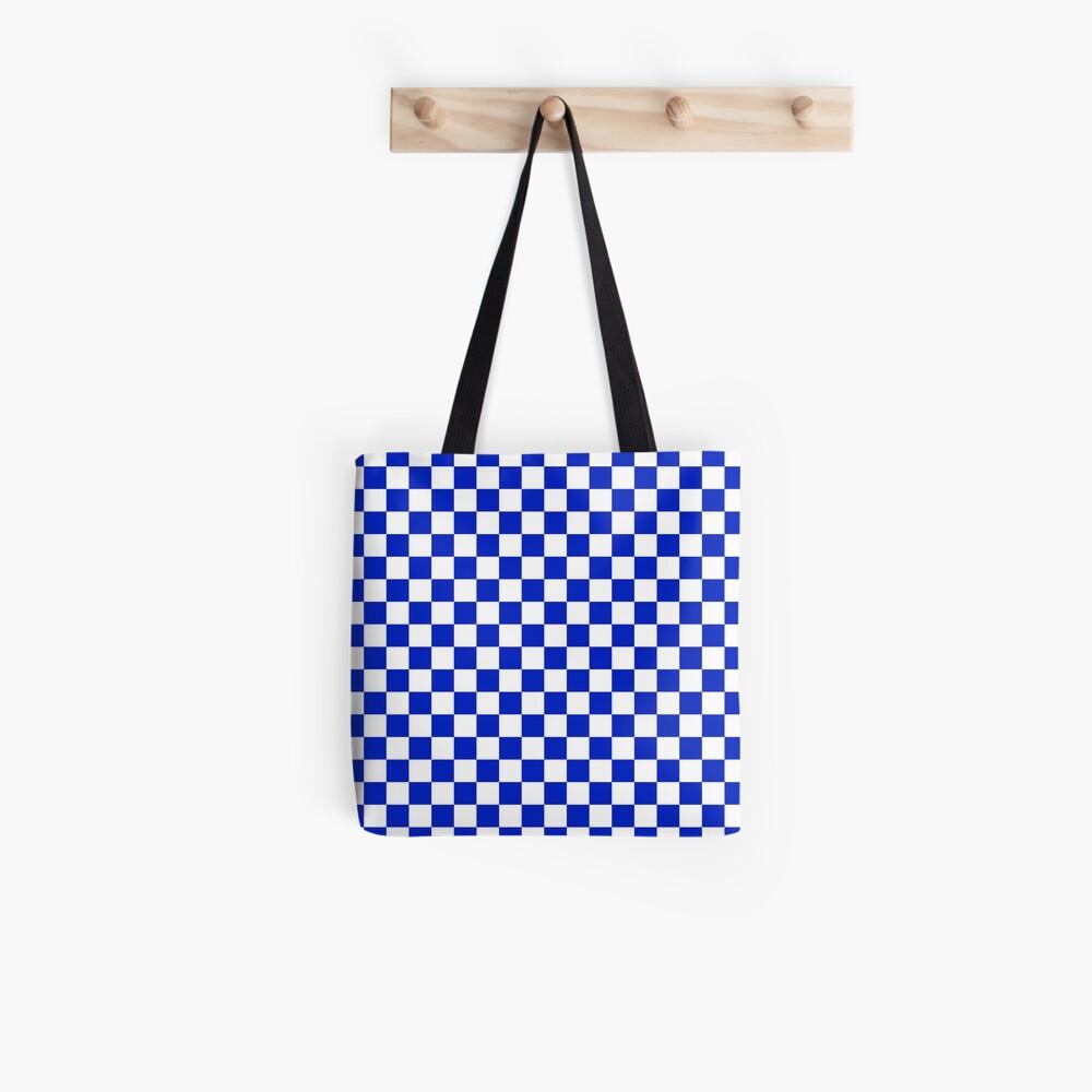 Kobaltblaues und weißes Schachbrettmuster Tasche