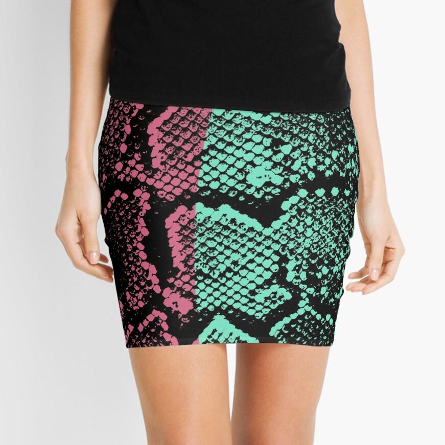 Snakeskin pink and teal Mini Skirt