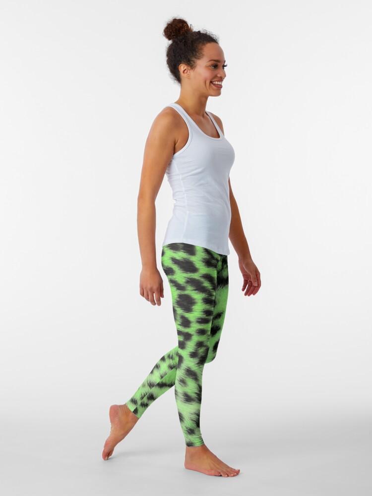 Alternate view of Bright leopard print in green Leggings