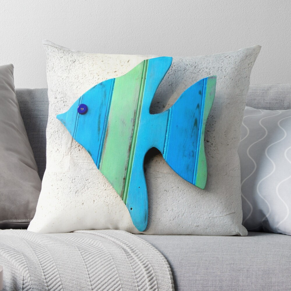 Green and Blue Striped Wood Angel Fish Throw Pillow