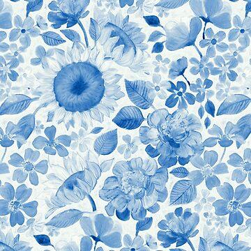 Denim Blue Monochrome Retro Floral by micklyn