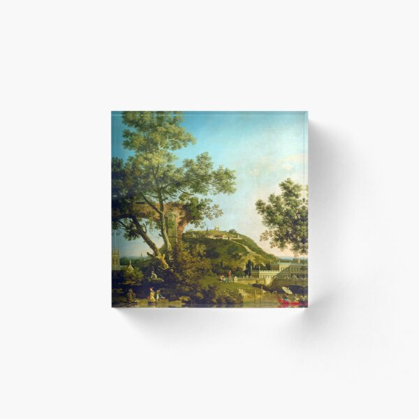 Canaletto English Landscape Capriccio with a Palace Acrylic Block
