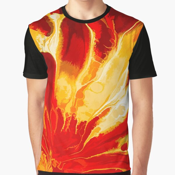 Red Explosion Abstract Graphic T-Shirt