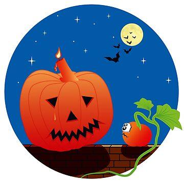 Halloween pumpkin with little sad pumpkin by MarlowLoom
