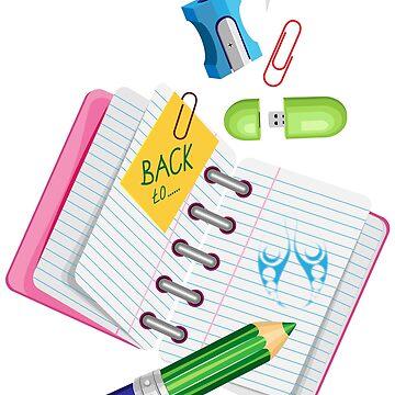 Colored flat school supplies  by IrinkaArt