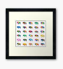 Whimsical Multi-Watercolored Buffalo Print Framed Print